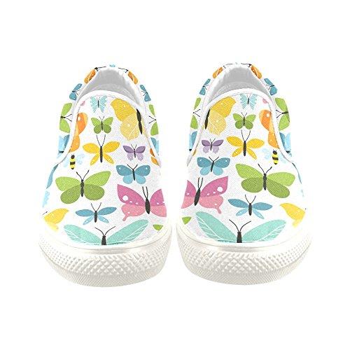 D-Story Custom Sneaker Seamless Butterfly Women Unusual Slip-on Canvas Shoes