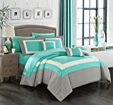 King Size Complete Bedding Set Chic Home Duke 10 Piece Comforter Set Complete Bed in a Bag Pieced Color Block Patterned Bedding with Sheet Set and Decorative Pillows Shams Included, King Turquoise