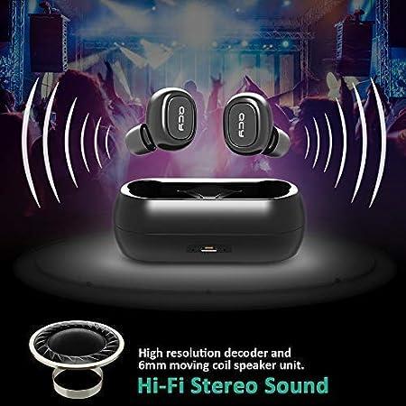 Auriculares Bluetooth, QCY Auriculares Magnéticos Bluetooth 4.1, Auriculares Manos Libres con Microfono, 8 Horas de Tiempo de Música, Cascos Inálambrico ...