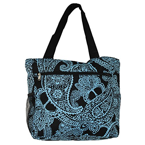 World Traveler 13.5 Inch Beach Bag, Black Blue Paisley, One Size