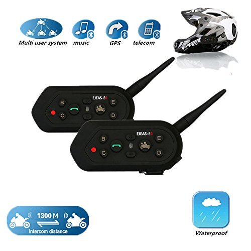 2 Set EJEAS E6 1300m Water Resistant Bluetooth Motorcycle Motorbike Helmet Intercom Interphone Headset Support Up to 6 Rider for MP3 player GPS - Hands Free Up to 10 Hours Talk Time