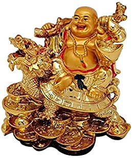 VIRSAA Feng Shui Laughing Buddha Sitting On Dragon Blessing Good Luck Decorative Showpiece for Good Fortune, Success & Prosperity (Laughing Buddha)