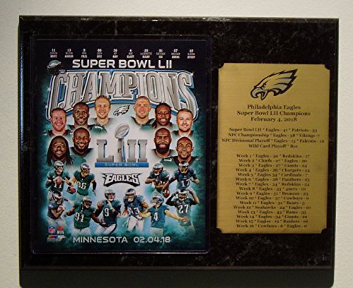 Philadelphia Eagles Super Bowl LII Champions team plaque with large engraved nameplate with season results by GFSF
