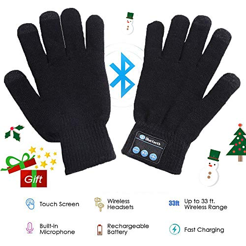 (Wireless Bluetooth Gloves, Winter Gloves, Wireless Bluetooth Talking Touchscreen Glove, Smart Gloves Removable Headphones for Outdoor Sports, Unique Christmas Tech Gifts for Teen Young Boys Girls Men)