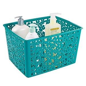 Mdesign floral bathroom vanity organizer bin for Teal bathroom bin