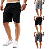 Leedford Men Sports Shorts Fitness Jogging Running Pants Elastic Waist Casual Pants (L, Black)
