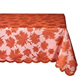 DII Fall Thanksgiving Maple Leaf Lace Tablecloth for Parties, Decor, and Dinner, 54 x 72 , Spice