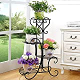 wrought iron plant stands Plant Stand Metal Flower Holder Pot with 4 Tier Garden Decoration Display Wrought Iron 4 Layers Planter Rack Shelf Organizer for Garden Home Office Black