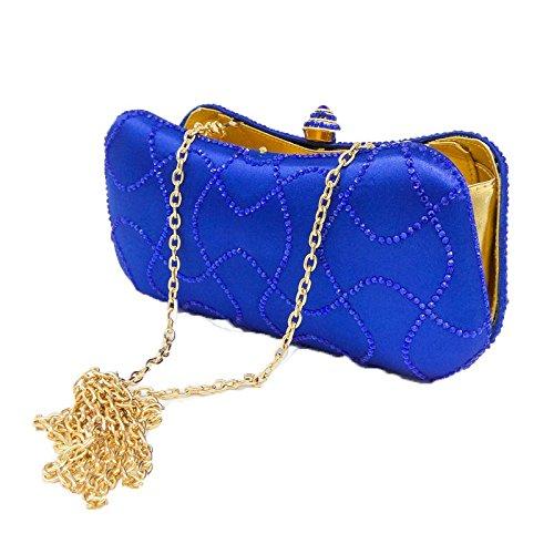 De De De Main D'oreiller Dames Sac D'embrayage Blue De à De Diamant Chaîne Satin Banquet De Sac Soirée De De Sac Mode Sac Dîner Strass Sac Hqqv7w