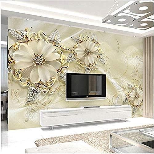 Clhhsy カスタム壁画壁紙3Dステレオゴールデンジュエリー花壁画リビングルームテレビソファ高級ホームインテリア -250X175Cm