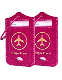 kandouren Red Leather Luggage Bag Tags 2 Pieces Set,Travel Tags for Cruise Ships,for Men and Women