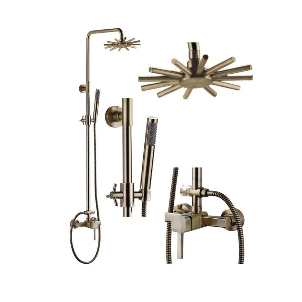 ZH BA217 Copper Bronze Round Top Spray Shower Set Mixer Hot And Cold Water Switch Shower Set