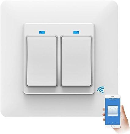 TopHGC Interruptor de luz Inteligente WiFi, Control Remoto del teléfono Control de Voz Toque Sensible con luz indicadora Compatible con Alexa y Google Assistant (2 Gang): Amazon.es: Hogar