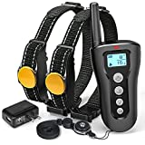 Training Dog Collar - Shock Collar For Dogs, iSPECLE 2018 Upgraded Waterproof Dog Training Collar 2 Dog Shock Collar with Remote 330yd Long Range Tone Vibration Shock for Medium Large Breed, Handsfree Neck Lanyard, Adapter