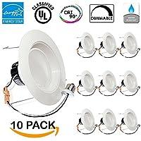 - 13Watt 5/6-inch ENERGY STAR UL-listed Dimmable LED Recessed Lighting Fixture Downlight Retrofit Kit (Baffle)- 5000K Daylight LED Ceiling Light -- 831LM, CRI 90 by Sunco Lighting