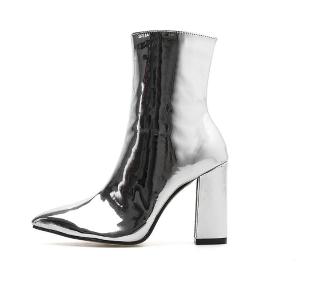 ELEGENCE-Z High Heels, Europa und Amerika hohe Qualität Qualität Qualität glänzend Lackleder Stoff wies Starke Ferse Reißverschluss Ritter Stiefel Damenschuhe e08dc7