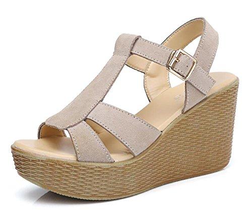 Pendiente ocasional cómoda de cuero de la torta del pino de 2017 verano con los zapatos de tacón alto de la plataforma impermeable gruesa femenina de las sandalias 1