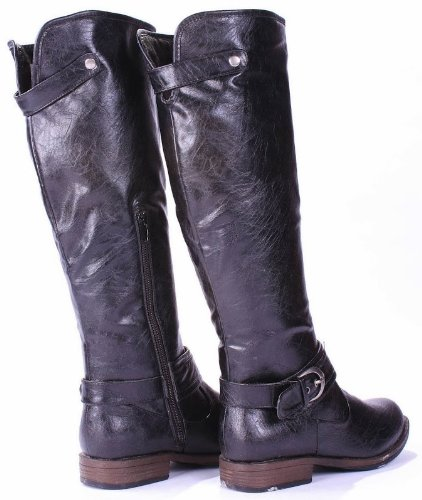 Mag08 Extra Soft F-Leather Equestrian Knee High Fur-lined Buckle Riding Boots Black wPTYAn0