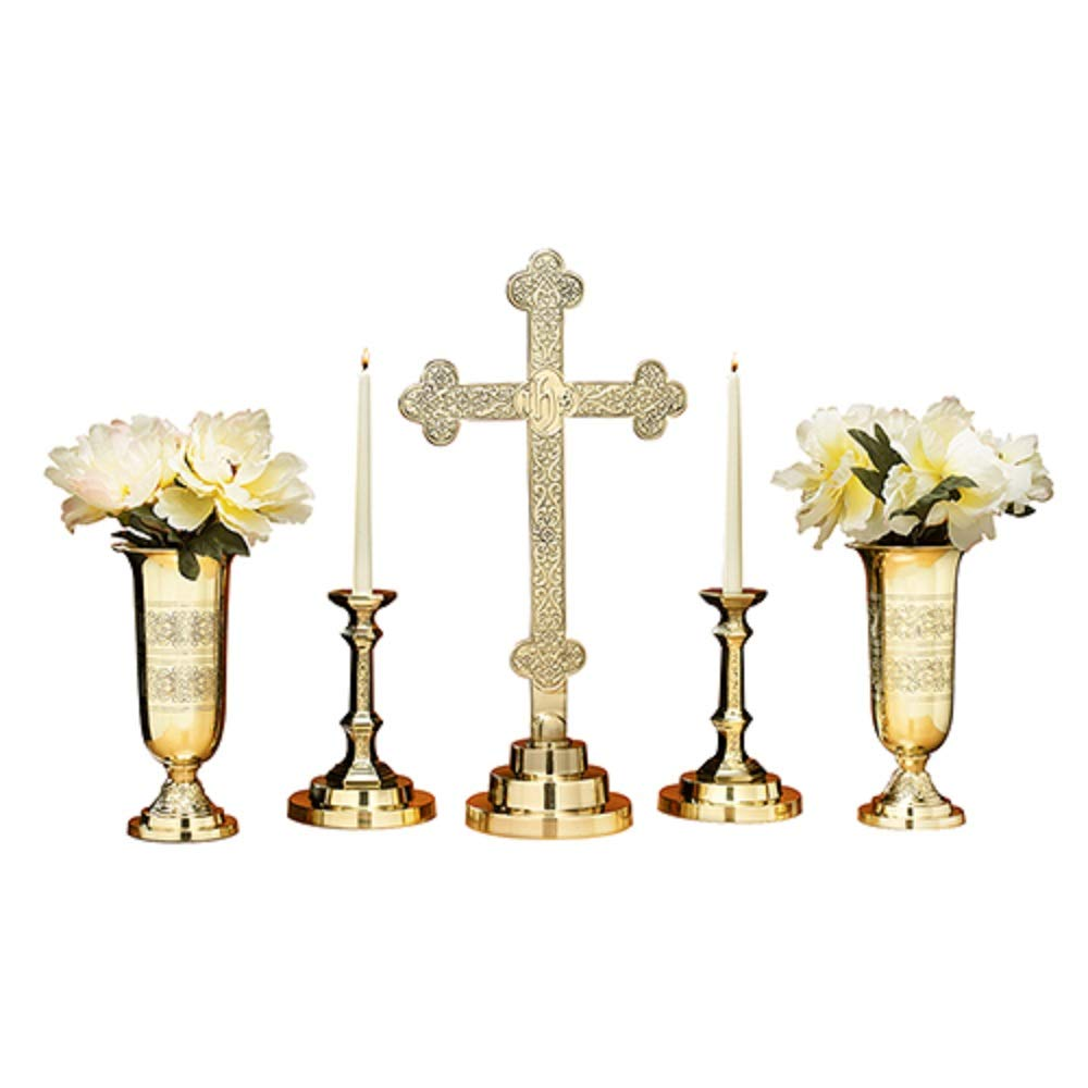 Pair of Candle Holders /& Pair of Vases Includes 23 High Cross 5 Piece Filigree Brass Altar Set