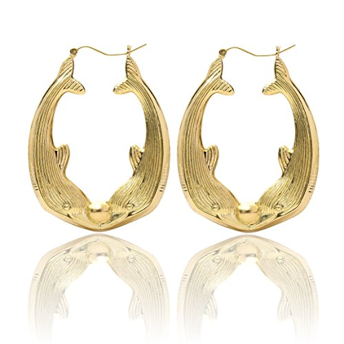10k Yellow Gold Friendship Love Hoop Earrings with Kiss Dolphin Design for Women & Girls, Extra Large