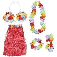 TINKSKY Hawaiian Set Luau Hula Skirt Bra Garland Wristband Headband Necklace (Red)
