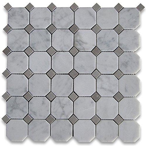 Carrara White Italian Carrera Marble Octagon Mosaic Tile Gray Dots 2 inch Polished ()