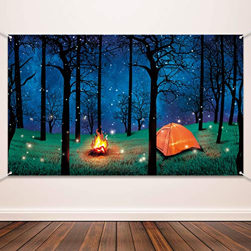 Indoor Camping Party (Blulu Forest Scene Camping Backdrop Supplies Camping Photography Background Photo Shoot Backdrop Party Decoration for Camping Theme Party Birthday Party Baby)