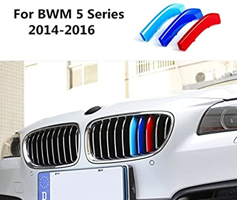 9 Grilles Longzhimei Fit for BMW 5 Series GT 5GT F07 528i 535i 550i 2010-2015 M-Colored Front Grille Insert Trim Strips Grill Cover 3Pcs