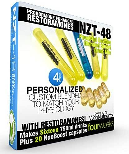 Limitless NZT-48 + Restoramones - Customized and Personalized Nootropic Performance Drink Mix. Brain Booster with Celastrus Extract, CDP Choline, Uridine, Guarana - 28 Proven Ingredients. (16+20)