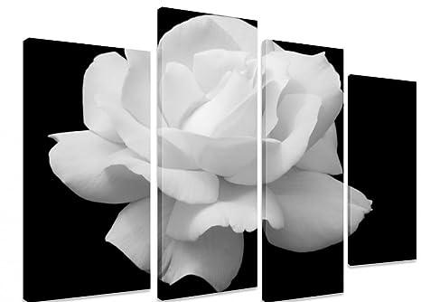 Tela Decorativa Su Pannelli Separati Motivo Rosa Bianca Su Sfondo