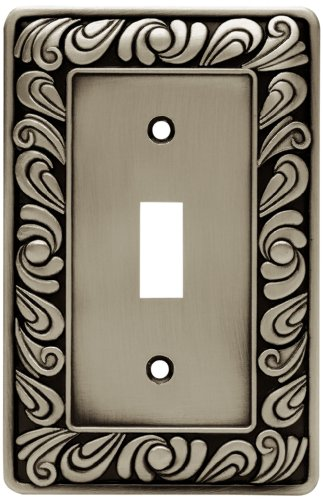 Design Single Outlet Switchplate Cover - Franklin Brass 64048 Paisley Single Toggle Switch Wall Plate/Switch Plate/Cover, Brushed Satin Pewter