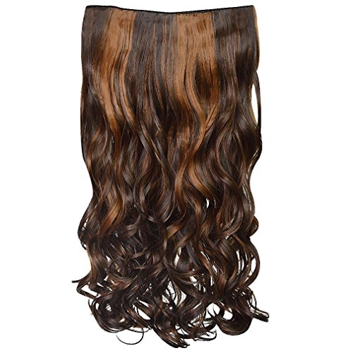 """REECHO 18"""" 1-Pack 3/4 Full Head Curly Wavy Clips in on Synthetic Hair Extensions Hairpieces for Women 5 Clips 4.0 Oz per Piece - 4KH27"""