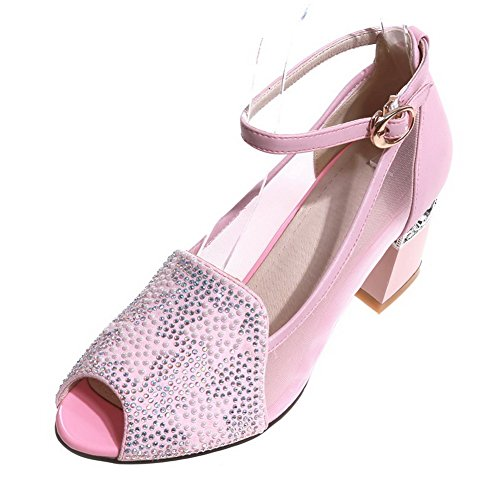 AllhqFashion Womens Peep Toe Kitten Heels Cow Leather Sandals with Mesh Legging Pink XptE6NlfLu