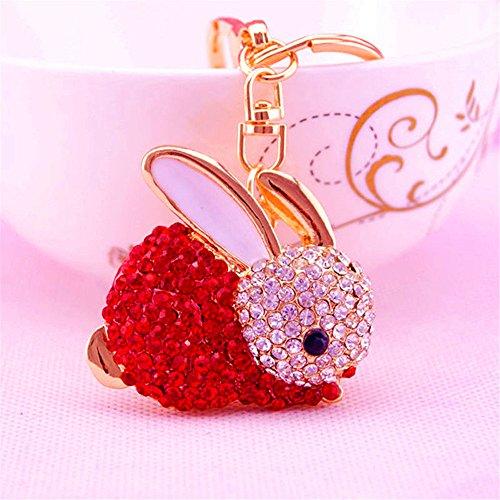 Jzone Cute Rabbit Shape Crystal Bunny Rhinestone Keychain Key Chain Sparkling Key Ring Charm Purse Pendant Handbag Bag Decoration Holiday Gift (red)