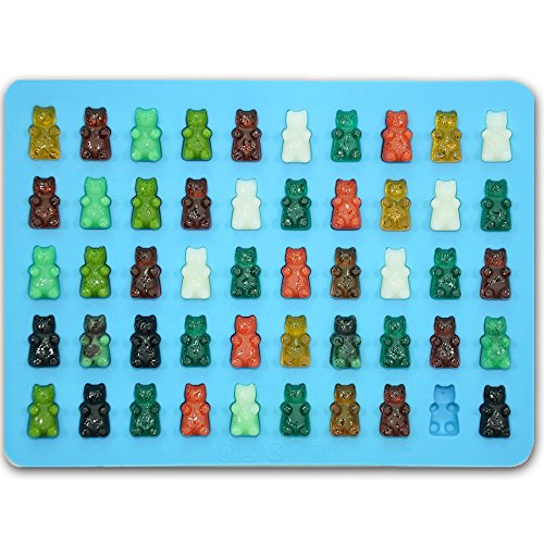 Price comparison product image Bigear Silicone Mini Gummy Bear Molds for Chocolate & Candy Making,Non-stick Silicone Ice Cube Tray with a 5ml Pipette,Makes 50 Mini Gummy Candy Bears or Healthy Sugar