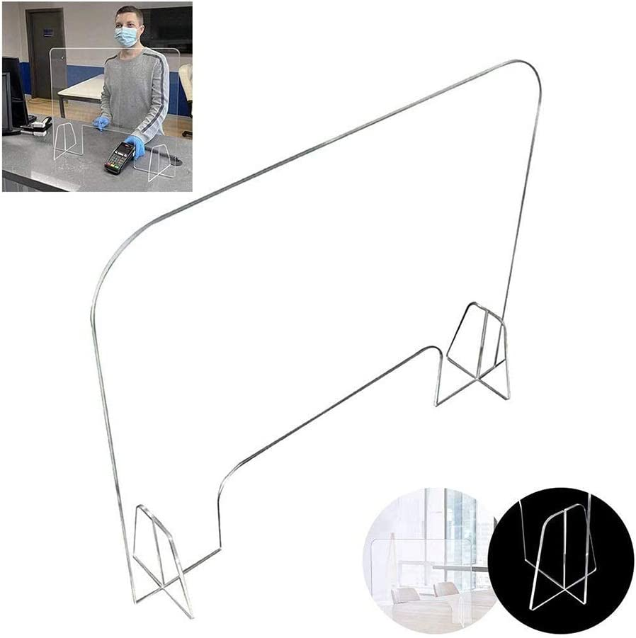 WLDD Portable Plexiglass Barrier Protective Sneeze Guard for Counter and Desk Freestanding Clear Acrylic ,Reception Protection Barrier Size : 60/×70cm