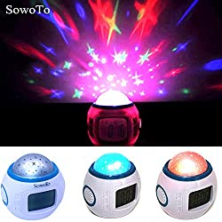 T.Face Bedroom Novelty Music Led Night Light Flashing Projector Starry Sky Star Moon Table Lamp Children Nightlight Gift Alarm Clock