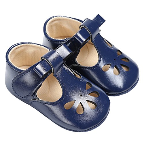 (Baby Girls Christening Baptism Mary Jane Soft Sole Classic Hollow Princess Dress Flat Shoes Blue Size S )