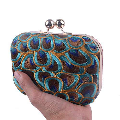Handbag Embroidery Bag Day Peacock Totes Evening Floral Purse Chain Lady Clutch Patry Women UHqnAgv
