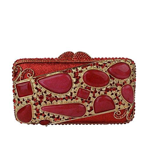 Red Embrayage Main Diamant Pour Soirée De De à Sac Banquet Pack Femmes OOPUqr