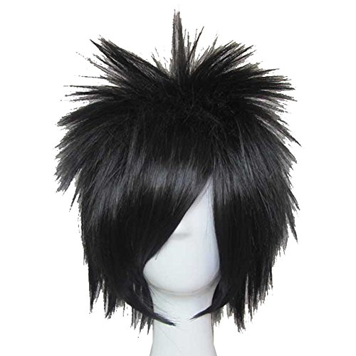 XCOSER L Lawliet Wig Death Note L Cosplay Short Black Anime Wig]()