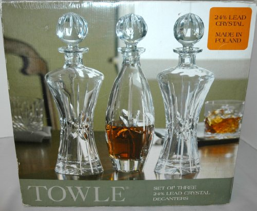 (Towle 3pc. Lead Crystal Decanter Set)
