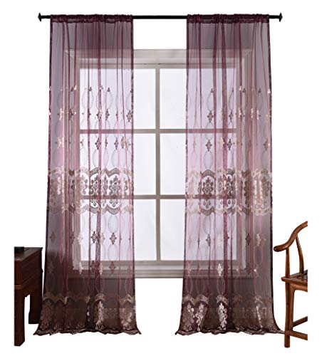 - Simbra European Style Sheer Curtain Classic Floral Wave Embroidery Window Drapery Rod Pocket Treatment for Bedroom & Living Room(1 Panel,W50 x L63inch, Purple)-1280488SC1ZCVTX75063-8517