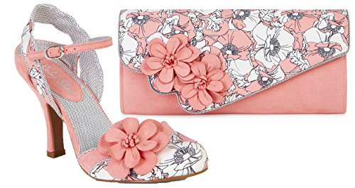 Ruby Shoo Women's Peach Floral Heidi Fabric Slingback Pumps & Rio Bag UK 7 EU 40 by Ruby Shoo