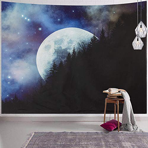 SYNEE Moon Mountain Wall Tapestry Forest Tree and Stars Galaxy Space Tapestry Starry Night Sky Tapestry Universe Celestial Art Decor Wall Hanging for Dorm Living Room Bedroom (XL 70.9