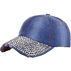 Rhinestone Studded Denim Baseball Cap