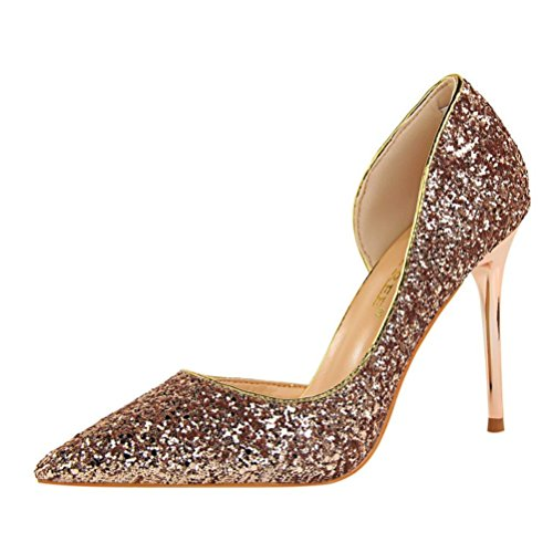(Womens Shoes Leedford Women Pumps Elegant Rhinestone High Heels Shoes Sexy Thin Pointed Single Shoes (US:5, Beige) (US:6, Rose Gold))