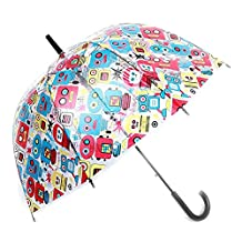 Moonse Romantic Arched Colorful Robot Pattern Clear Rain Wind Princess Umbrella,Long-handled Half-Automatic