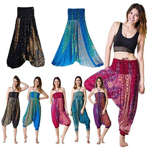 a08e3cafb7260 ... Femme Eté Taille la Sport Sarouel bande Jogging Pantalon Haute stretch  Pantalon large Casual taille Moonuy