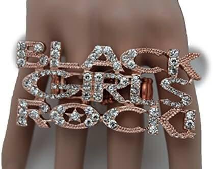 TFJ New Women Fashion Ring Rose Gold Metal 2 Finger Black Girls Rock ! One Size